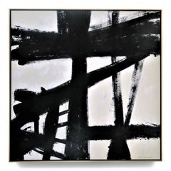 """""""Bold Attraction"""" Black and White Acrylic with Plaster Relief Painting 60"""" x 60"""""""