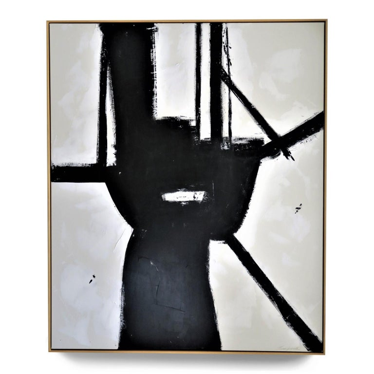 """""""Brazen"""", 2020, 72"""" x 60"""". This is an original acrylic on stretched canvas abstract black and white painting by Argentine born artist Karina Gentinetta (featured in Elle Decor, the New York Times, Traditional Home, Luxe Magazine and most recently,"""