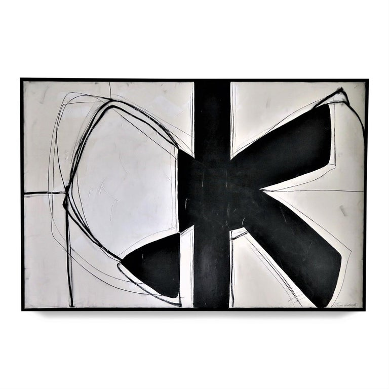 """""""Form Over Function"""" Black and White with Plaster Painting, 2020, 48"""" x 72""""  - Mixed Media Art by Karina Gentinetta"""