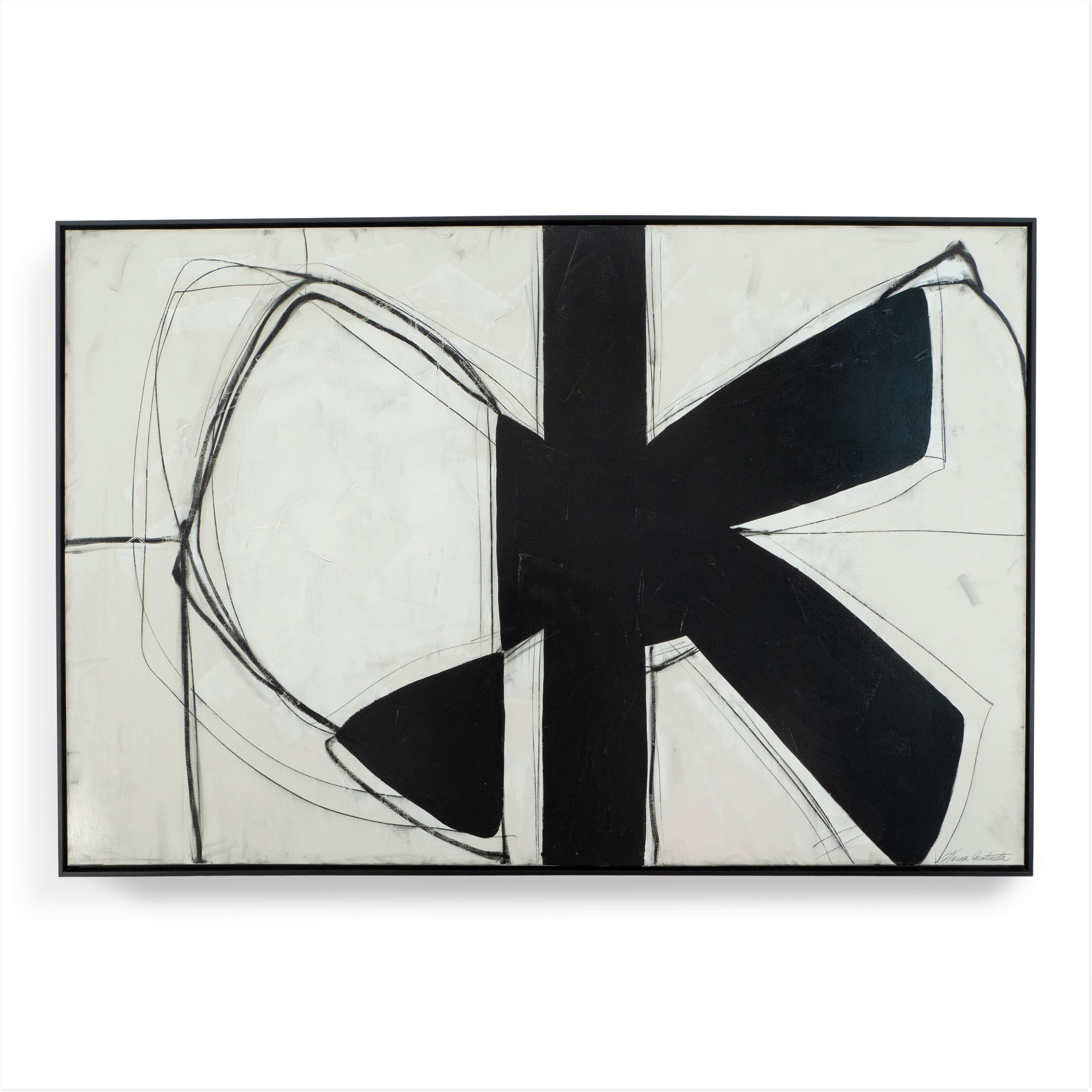 """""""Form Over Function"""" Black and White Abstract Painting with Plaster Relief, 2020"""