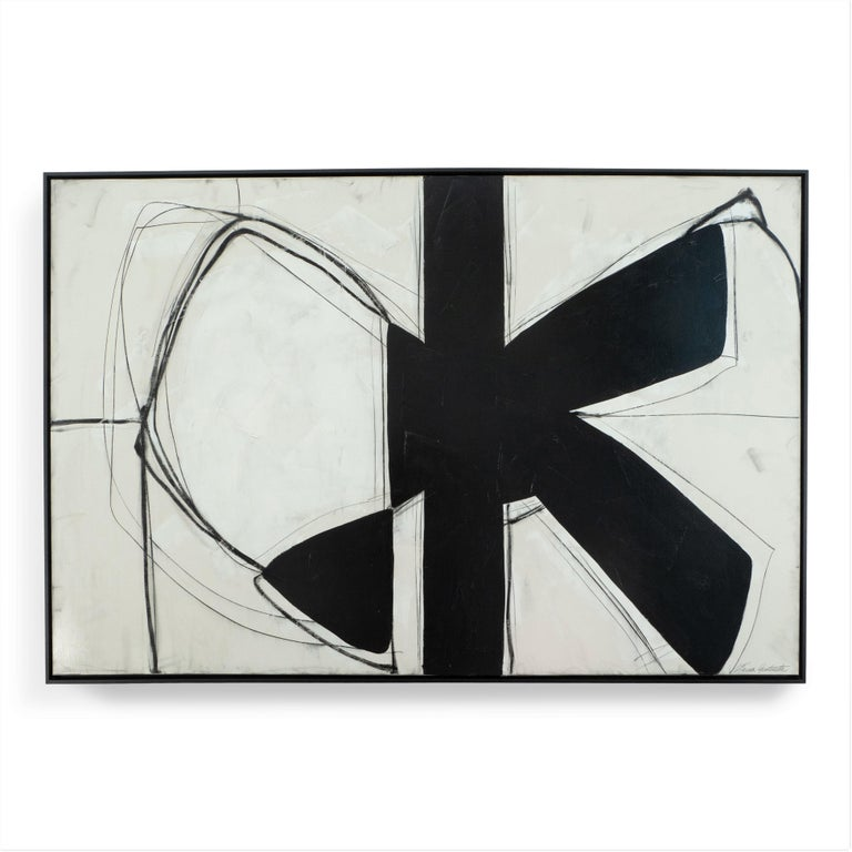"""""""Form Over Function"""" Black and White Abstract Painting with Plaster Relief, 2020 - Mixed Media Art by Karina Gentinetta"""
