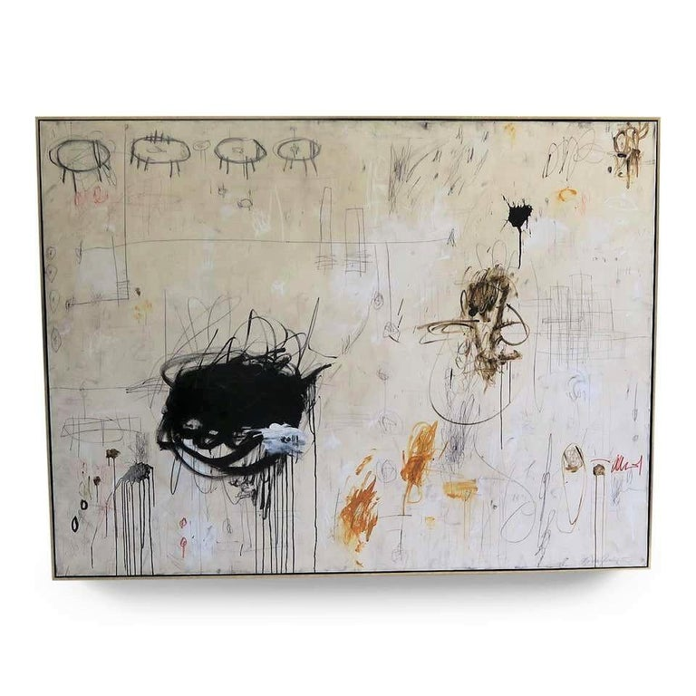 """""""In the Moment"""" Oversized Original Abstract Painting in Earth Tones, 6ft x 8ft - Mixed Media Art by Karina Gentinetta"""