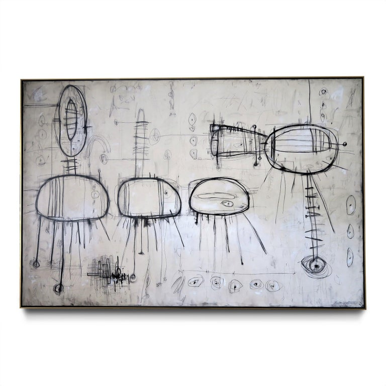 """Karina Gentinetta Abstract Drawing - """"Ingenuo"""" Original Painting, 2020, 108"""" x 72"""" in hues of White, Ivory and Black"""