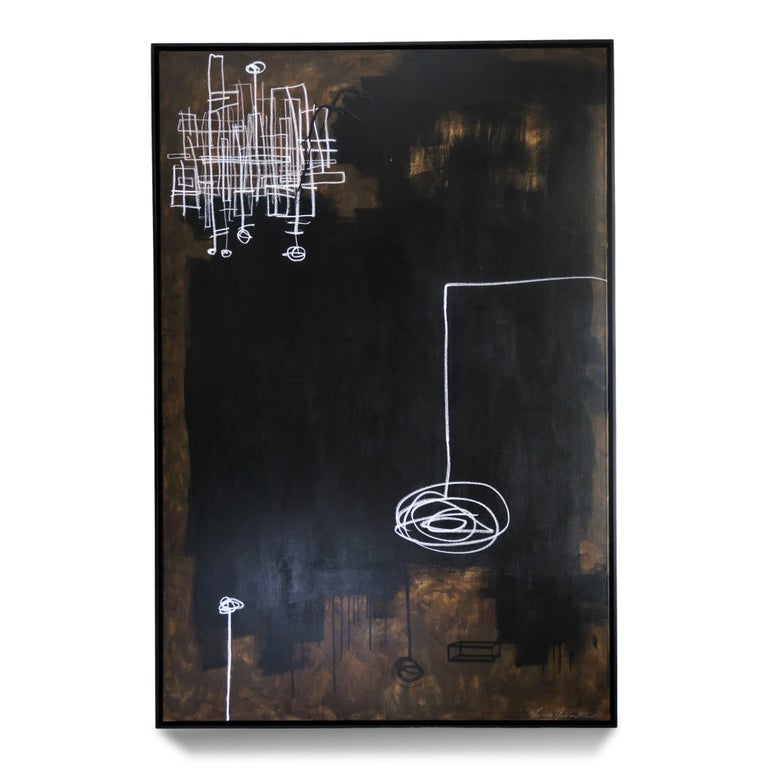 """""""Intrepid"""" 2020, 72"""" x 48"""". Large abstract painting consisting of bold black and burnt umber (brown) acrylic paint with white oil pastel on canvas by Argentine-born artist Karina Gentinetta (featured in Elle Decor, the New York Times, Traditional"""