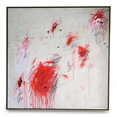"""""""Muses"""" Original Painting in Hues of White, Red and Black Pencil, 60"""" x 60"""""""