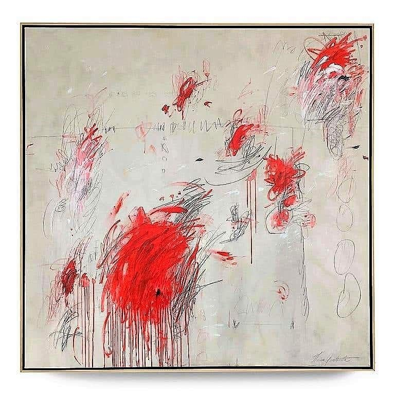 """Muses"", 2020, 60"" x 60"" Abstract painting consisting of ivory, white and red acrylic paint, carbon pencils and oil pastels on canvas by Argentine born artist Karina Gentinetta (featured in Elle Decor, the New York Times, Traditional Home, Veranda"