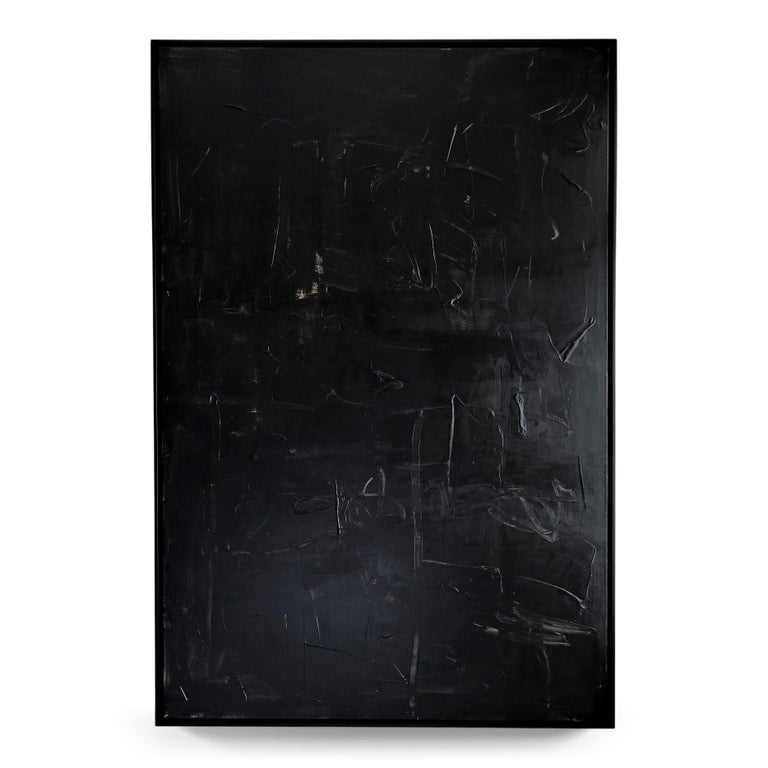 """Karina Gentinetta Abstract Painting - """"Nuit"""" Acrylic and Plaster Textured Black Abstract, 2021, 72""""x48"""