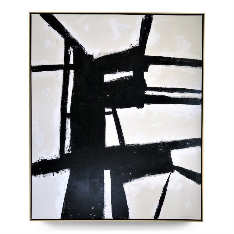 """Strength"", 2019, 60"" x 72"". This is an original acrylic on stretched canvas abstract black and white painting by Argentine born artist Karina Gentinetta (featured in Elle Decor, the New York Times, Traditional Home and 2017 Luxe Magazine)."