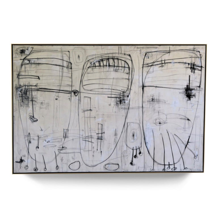 """""""Raw Emotion"""", 2019, 108"""" x 72"""" acrylic, pencil and oil pastel on canvas by Argentine born artist Karina Gentinetta (featured in Elle Decor, the New York Times, Traditional Home, Veranda Magazine and Luxe Magazine). This work is a raw display of"""