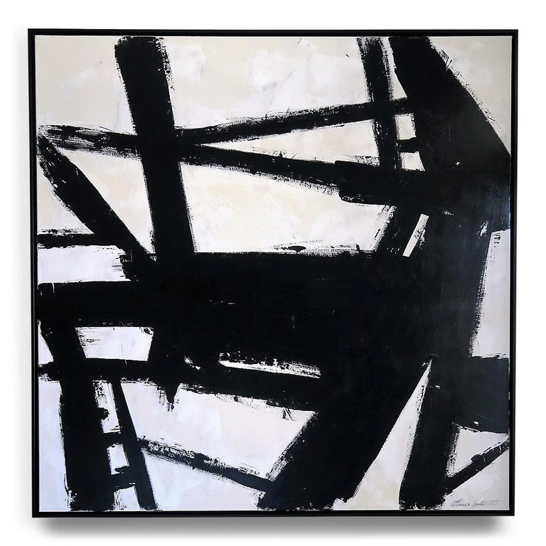 """""""Skyline II"""", 2019, 60"""" x 60"""". This is an original acrylic on stretched canvas abstract black and white painting by Argentine born artist Karina Gentinetta (featured in Elle Decor, the New York Times, Traditional Home and 2017 Luxe Magazine)."""