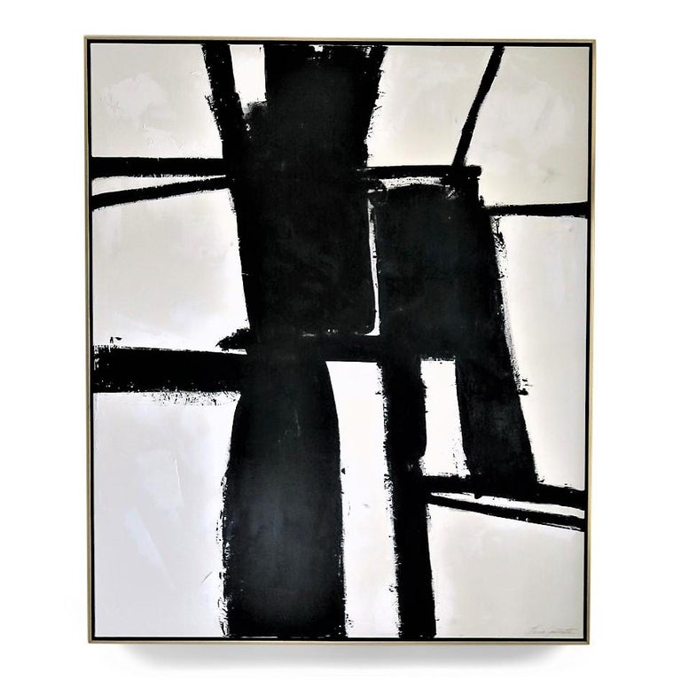 """""""Perseverance"""", 2019, 60"""" x 72"""". This is an original acrylic on stretched canvas abstract black and white painting by Argentine born artist Karina Gentinetta (featured in Elle Decor, the New York Times, Traditional Home and 2017 Luxe Magazine)."""