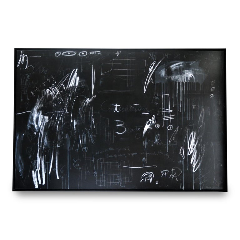 """Karina Gentinetta Abstract Painting - """"Time Flies"""" Black and White Painting with Pencils and Oil Pastels, 48""""x72"""""""