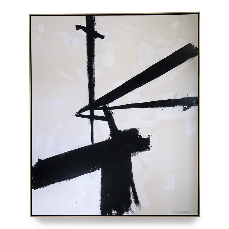 """""""Triumph"""", 2019, 60"""" x 72"""". This is an original acrylic on stretched canvas abstract black and white painting by Argentine born artist Karina Gentinetta (featured in Elle Decor, the New York Times, Traditional Home and 2017 Luxe Magazine). Measures:"""