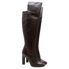 Karina IK Nin Leather And Crocodile Heeled Boots - Size EU 37