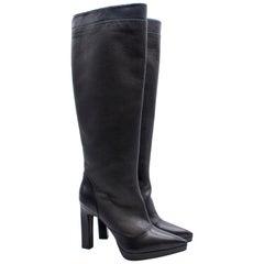 KarinaIK Grey Leather Knee Length Boots - Size EU 37