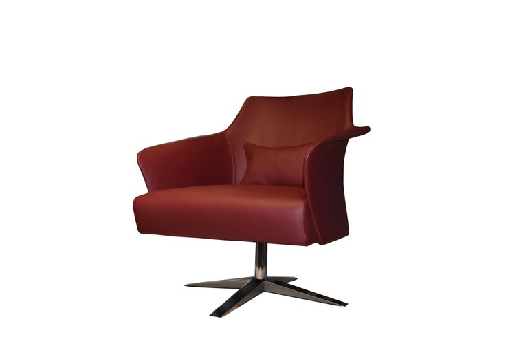 Modern Karl Armchair in Wine Red Italian Leather Upholstery with Glossy Metal Base For Sale