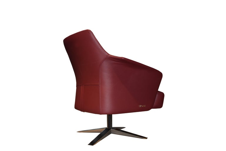 Albanian Karl Armchair in Wine Red Italian Leather Upholstery with Glossy Metal Base For Sale