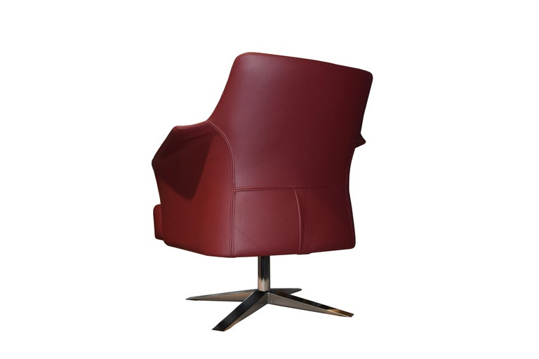 Hand-Crafted Karl Armchair in Wine Red Italian Leather Upholstery with Glossy Metal Base For Sale