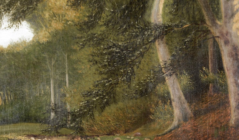 Stream at the Edge of the Forest - Landscape - Brown Landscape Painting by Karl bock
