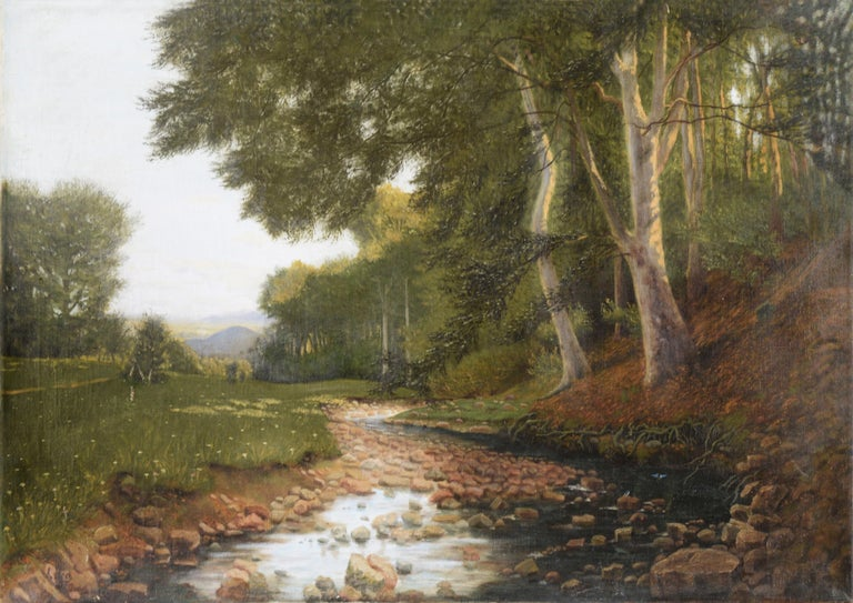 Karl bock Landscape Painting - Stream at the Edge of the Forest - Landscape