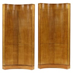 Pair of Tall Biedermeier Corner Cabinets designed by Karl Bock 1930s
