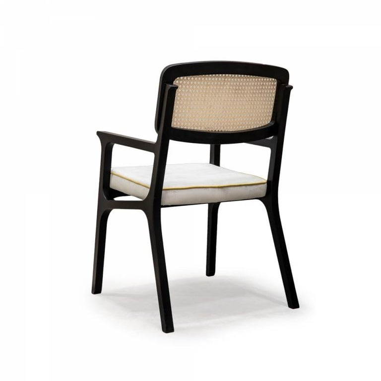Black lacquered wood structure with natural rattan back detail and soft comfortable upholstery seat. Made to Order.   For sales with delivery address within European territories, VAT will be charged additionally to the stated price.