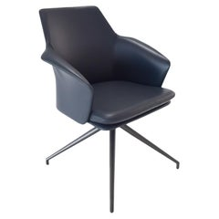 Karl Dining Chair with Navy Blue Italian Leather Upholstery and Grey Metal Base