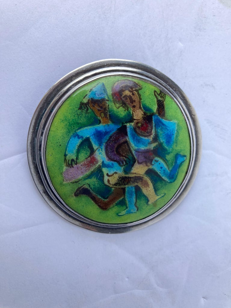 Modern Karl Drerup Enamel Metal and Sterling Silver, Plaque/Brooch/Pin Picture, Signed For Sale