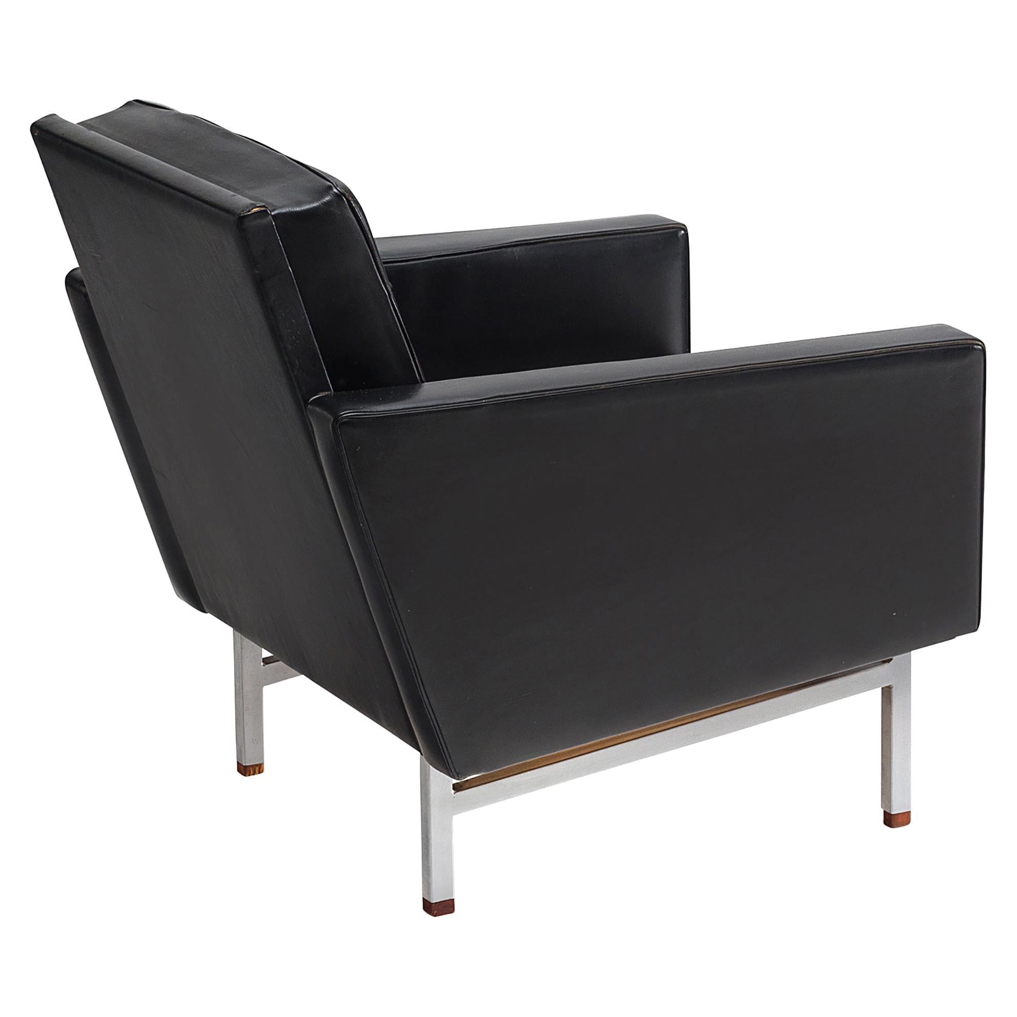 Karl Erik Ekselius Armchair in Original Black Leather