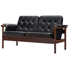 Karl-Erik Ekselius Black Leather and Rosewood Sofa