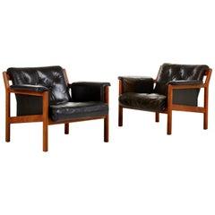 Karl-Erik Ekselius Leather Easy Chairs by JOC in Vetlanda, Sweden, 1960s