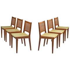Karl-Erik Ekselius Set of Six Dining Chairs in Teak and Cane