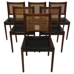 Karl-Erik Ekselius Set of Six Dining Chairs in Teak and Cane, Sweden, 1950s