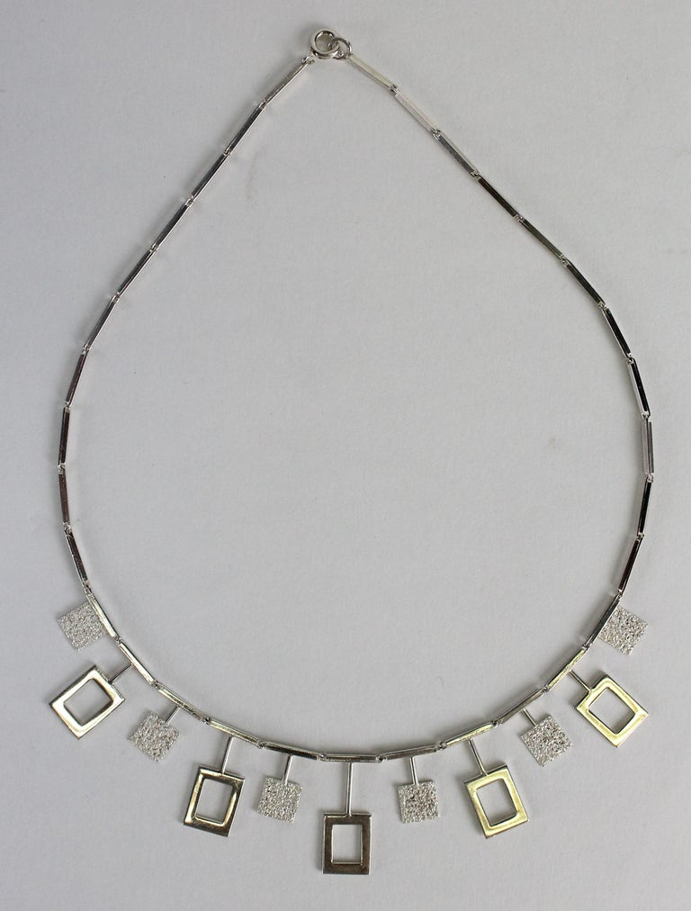 Karl-Erik Palmberg, Scandinavian Modern Necklace in Silver, Falköping, 1945 For Sale 8