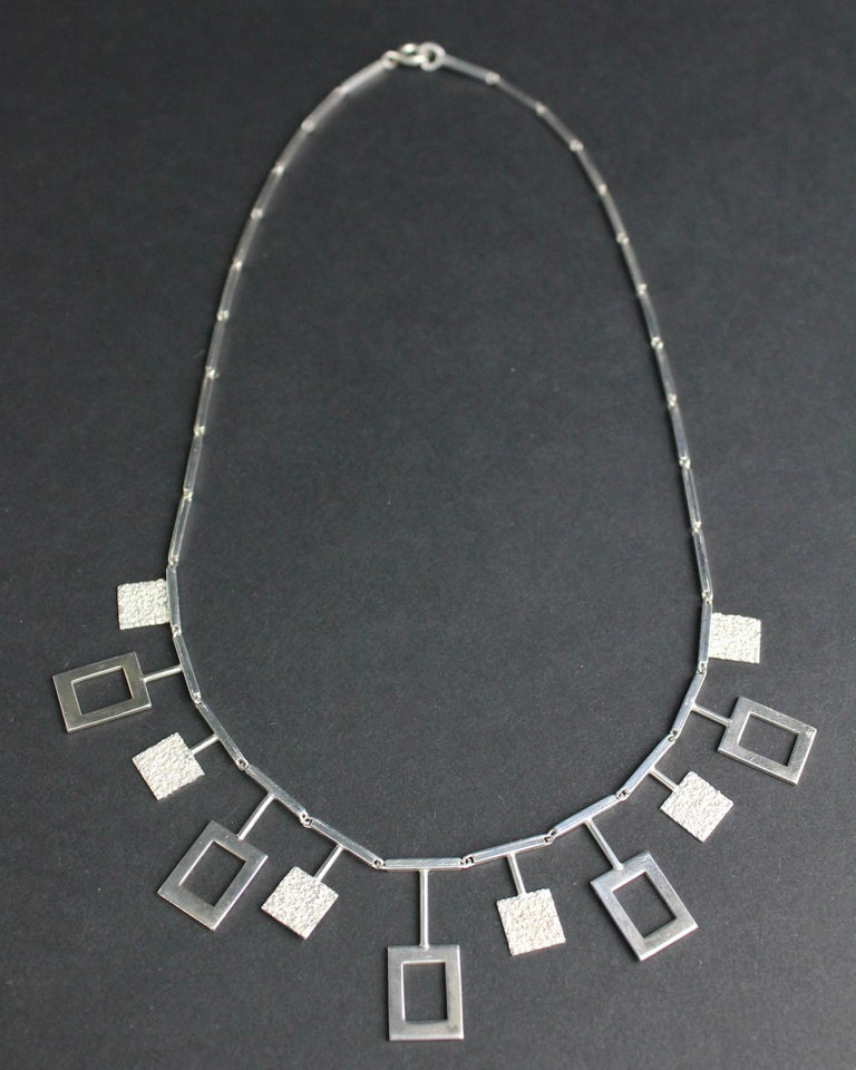 Modernist Karl-Erik Palmberg, Scandinavian Modern Necklace in Silver, Falköping, 1945 For Sale