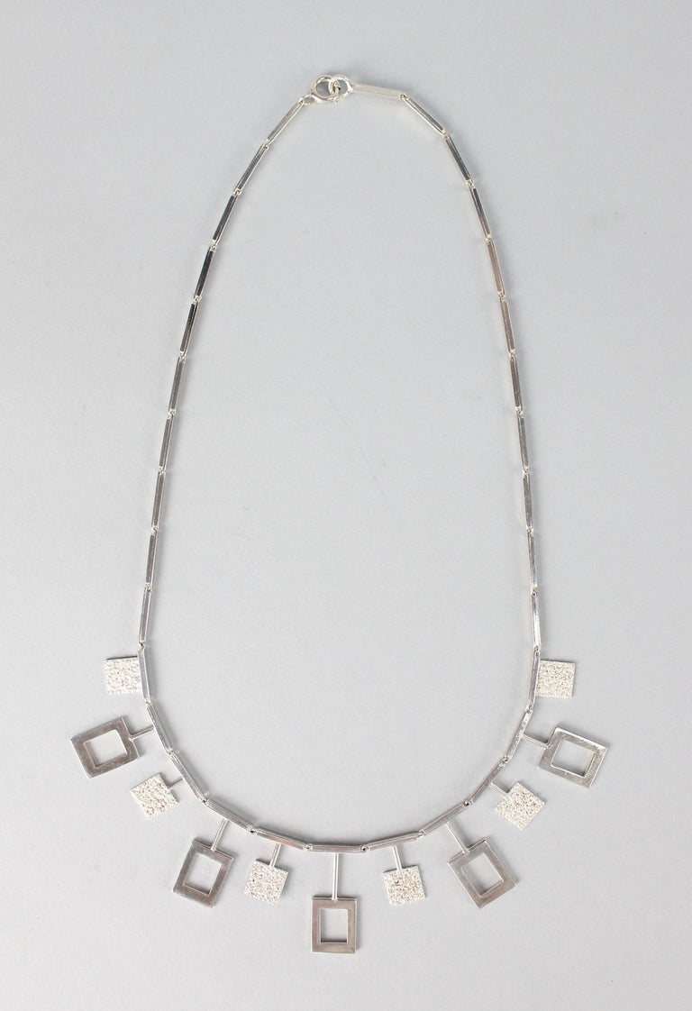 Karl-Erik Palmberg, Scandinavian Modern Necklace in Silver, Falköping, 1945 For Sale 1