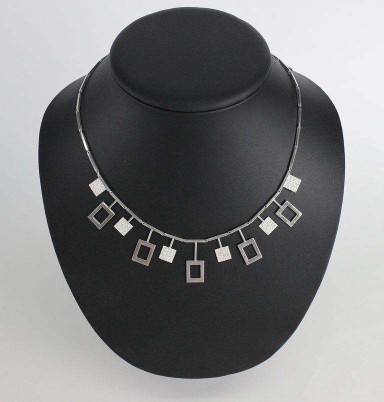 Karl-Erik Palmberg, Scandinavian Modern Necklace in Silver, Falköping, 1945 For Sale 2