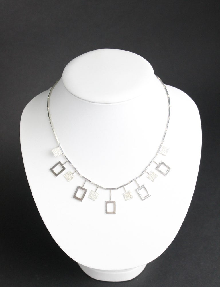 Karl-Erik Palmberg, Scandinavian Modern Necklace in Silver, Falköping, 1945 For Sale 3