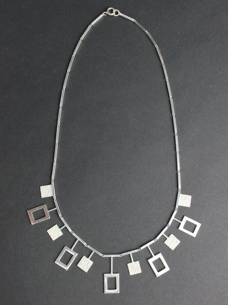 Karl-Erik Palmberg, Scandinavian Modern Necklace in Silver, Falköping, 1945 For Sale 4