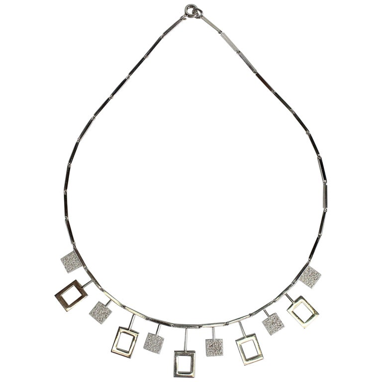 Karl-Erik Palmberg, Scandinavian Modern Necklace in Silver, Falköping, 1945 For Sale