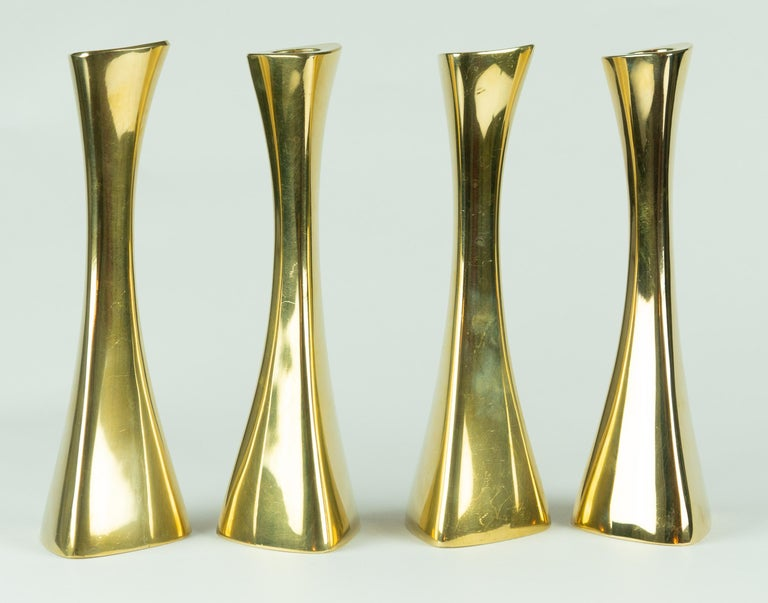 Scandinavian Modern Karl-Erik Ytterberg, Set of Four Brass Candlesticks, Sweden, 1960s For Sale
