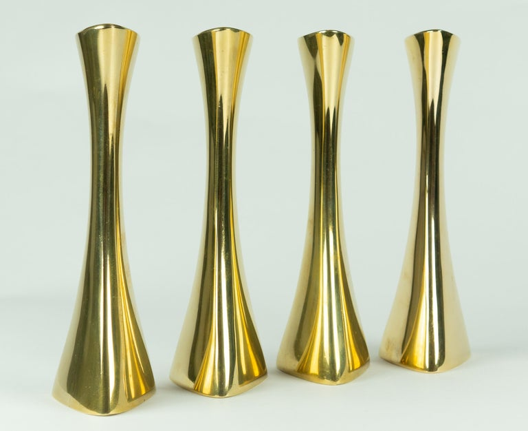 Swedish Karl-Erik Ytterberg, Set of Four Brass Candlesticks, Sweden, 1960s For Sale