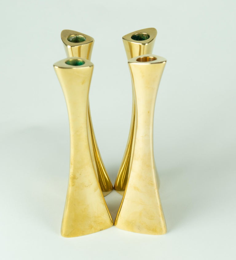 Mid-20th Century Karl-Erik Ytterberg, Set of Four Brass Candlesticks, Sweden, 1960s For Sale