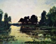 """"""" A Twilight River Landscape"""", original oil  circa 1895, impressionist style"""