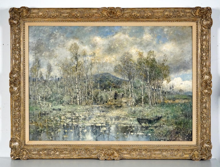 River Landscape - Painting by Karl Heffner