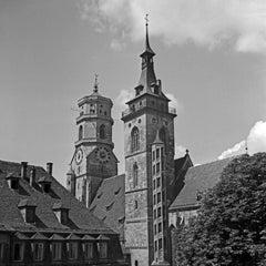 Belfries of collegiate church at Stuttgart, Germany 1935, Printed Later