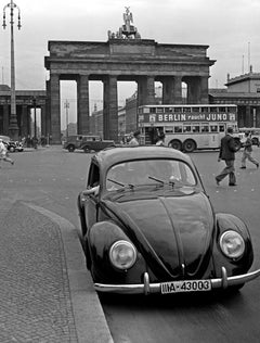 Brandenburg Gate with the Volkswagen beetle, Germany 1939 Printed Later