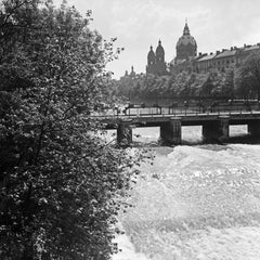 Bridge at Isar view to Lutheran St. Lukas church, Germany 1937, Printed Later