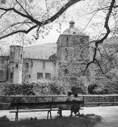 Couple on bench at Heidelberg castle, Germany 1936, Printed Later
