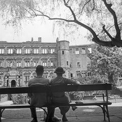 Couple on bench view to Heidelberg castle, Germany 1936, Printed Later